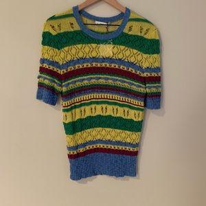 NWT Zara Knit Striped Short Sleeve Sweater